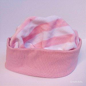 Gorro Touca Listra Rosa Bebê