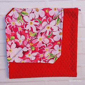 Manta Matelassê Floral Vermelha