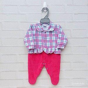 Macacão Plush Pink Xadrez