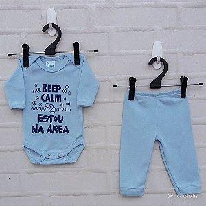 Conjunto Suedine Frases Keep Calm Estou na Área Azul