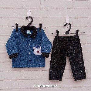 Conjunto Bucklê Azul Preto Urso Marinheiro