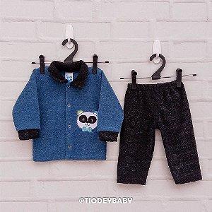Conjunto Peluciado Azul Preto Panda
