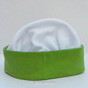 Gorro Touca Plush  Branco com Verde