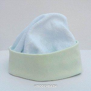Gorro Touca Atoalhado Branco com Verde Claro