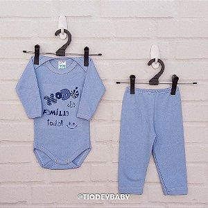 Conjunto Suedine Frases Xodó da Família Azul