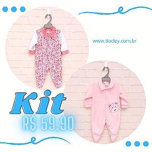 Kit 2 Macacões Floral + Hipopótamo Rosa