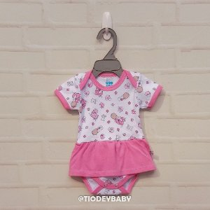 Body Saia Suedine Manga Curta Baby Rosa