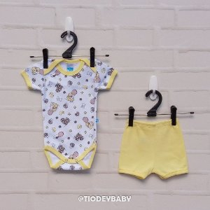 Conjunto Manga Curta Suedine Baby Amarelo