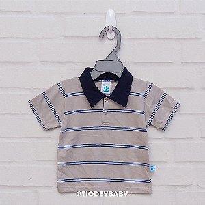 Camisa Polo Listras Bege com Marinho