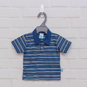 Camisa Polo Marinho Listrada