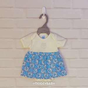 Body Saia Vestido Suedine Manga Curta Floral Azulzinho