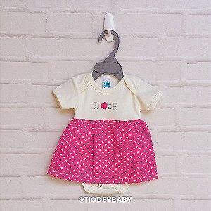 Body Saia Vestido Suedine Manga Curta Coração Pink