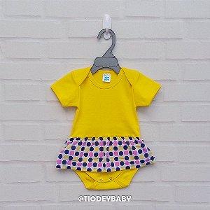Body Saia Ribana Manga Curta Amarelo Bolinhas