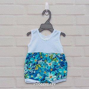 Banho de Sol Floral Azul Piscina