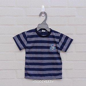 Camiseta Malha Manga Curta Listrada Azul Marinho Nautical