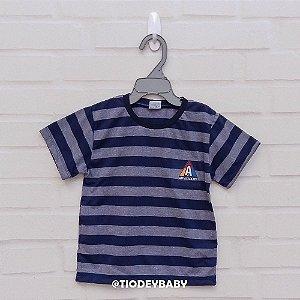 Camiseta Malha Manga Curta Listrada Azul Marinho Academy