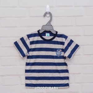Camiseta Malha Manga Curta Listrada Azul com Mescla Nautical