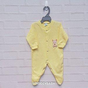 Macacão Longo Suedine Amarelo Urso Carrinho