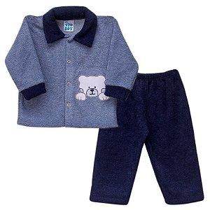 Conjunto Peluciado Azul Marinho Urso