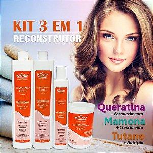 Kit 3 Em 1 Reconstrutor Hidratação Wgw Queratina Mamona Tutano