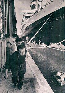 Cartão S.S. United States, Le Havre, France, 1952