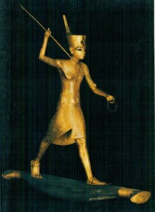 Cartão Statuette of Tutankhamun with a spear