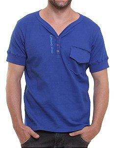 Camiseta Oitavo Ato Henley Azul Royal