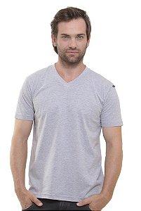 Camiseta Decote V Cinza Mescla