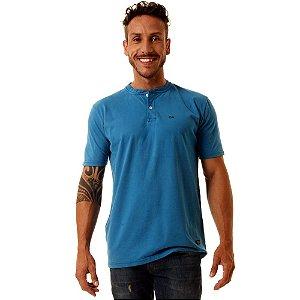 Camiseta Oitavo Ato Henley Azul Turquesa Stone