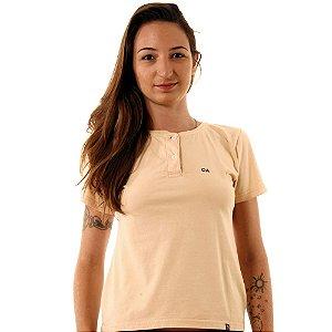 Camiseta Feminina Oitavo Ato Henley Caqui