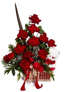 Arranjo Grande de Rosas Colombianas e Teddy