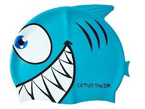 Touca De Natação infantil Silicone Peixe Azul - Cetus