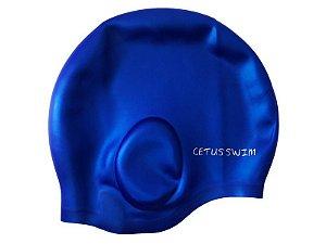 Touca De Natação Adulto Silicone Cobre Orelhas Azul - Cetus