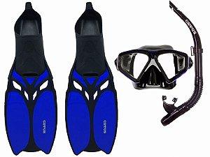 Kit Mergulho Shark Máscara+Nadadeira+Snorkel - Cetus