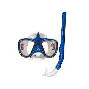 Kit Mergulho Máscara+Snorkel Infantil Tubarão - Cetus