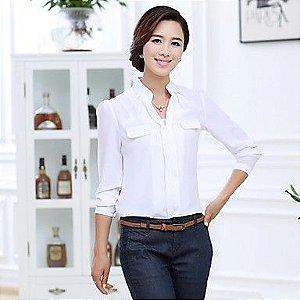Camisa Branca Chiffon (Pronta Entrega)