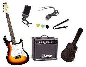 Kit Guitarra Strato Strinberg EGS216 com acessórios + amplificador