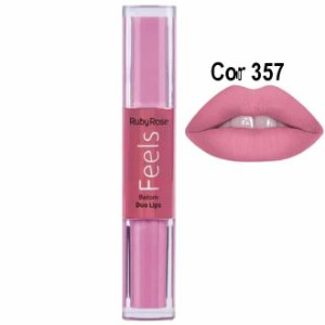 Batom Duo Lips Feels 357 - Ruby Rose