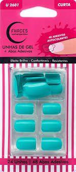 Unhas de Gel Fhaces Curta Azul Piscina Com 24 Unhas+ 48 Abas Adesivas