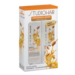 KIT STUDIO HAIR SHAMPOO+CONDICIONADOR RESTAURAÇÃO E MACIEZ MURIEL 250ML