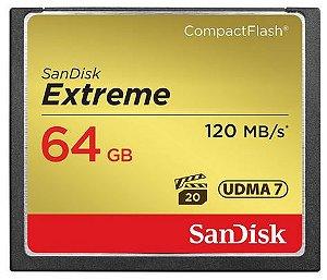 CARTÃO DE MEMORIA CF SANDISK 64GB EXTREME S 120MB/S