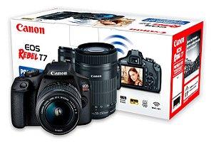 Câmera Canon EOS Rebel T7 Kit 18-55mm f/3.5-5.6 IS II + 55-250mm f/4-5.6 IS II - Kit Premium