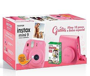 Kit Câmera Fujifilm Instax Mini 9 Rosa Flamingo + Pack 10 Filmes + Case