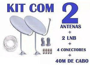 Kit de 2 antena De 60cm Banda Ku - Com Lnb simples universal e 20 mts de Cabo