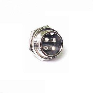 Conector circular GX16-4 16mm Para Painel 4 Pinos Macho 180° K2931