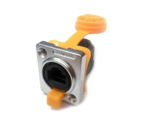 Conector RJ45 IP65 Fêmea 90° Para Painel (Tipo D) K2576