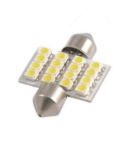 Lâmpada Led Festoon 16 Leds 3528 12v Branco 6000k 31mm EXK2451
