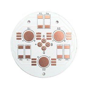 Placa MCPCB Redonda Para 3 LEDs RGB 6 pinos 42mm K2212