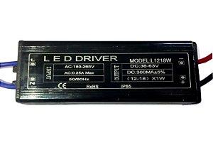 Fonte Driver Para 12 A 18 LEDs De 1W Bivolt IP67 K1342