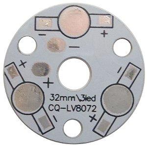 Placa MCPCB Redonda Para 3 LEDs De 1W Ou 3W K1593